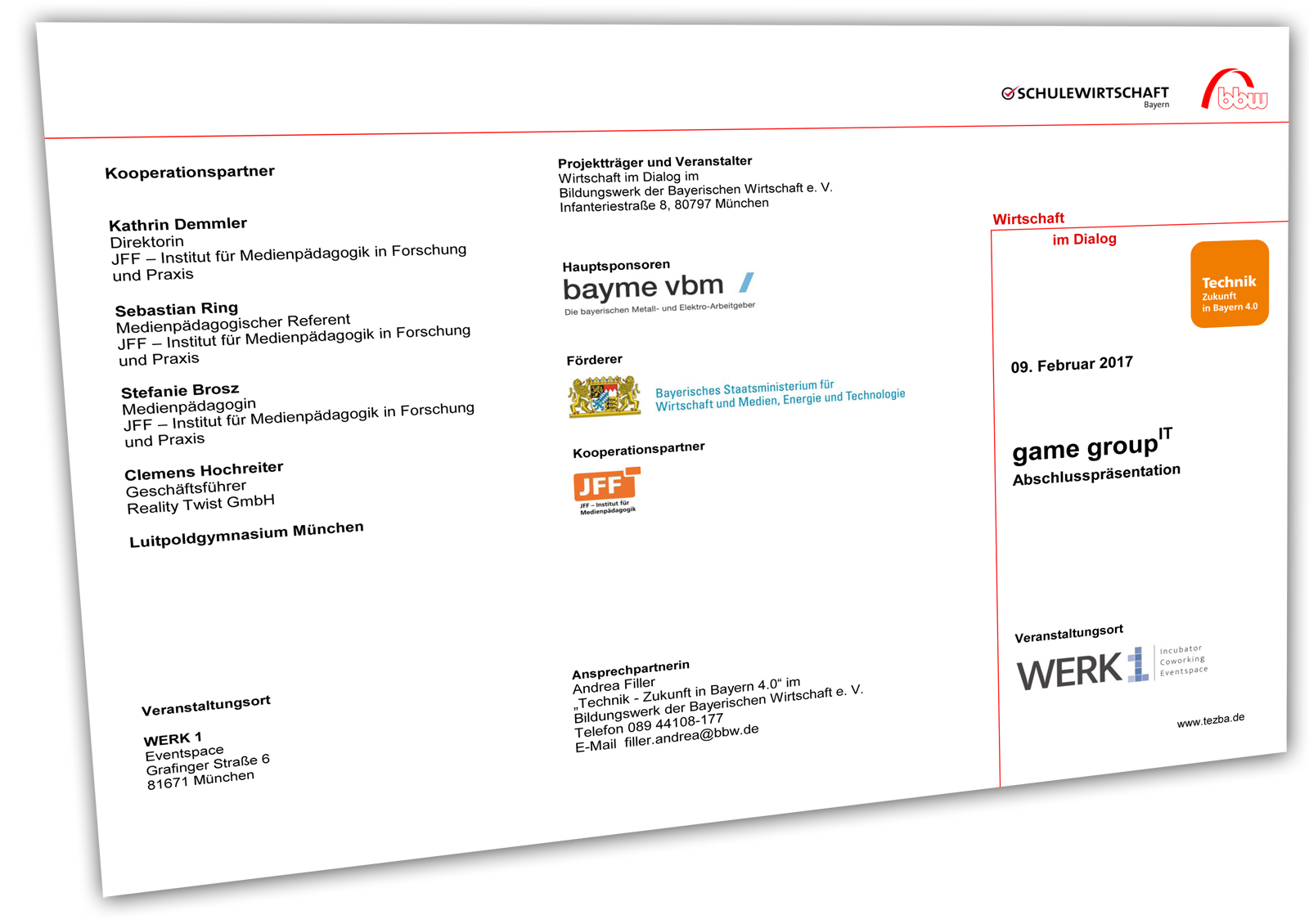Abschluss des Gamedesign-Projekts game group IT am 9. FEB